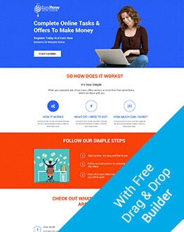 Responsive Online Earn Money Landing Page Design Template With Free Builder