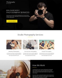 Responsive Photography Services Landing page design template