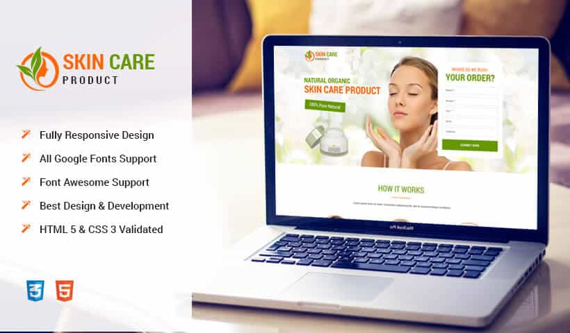 Responsive Skin care landing page design template to Increase your Revenue