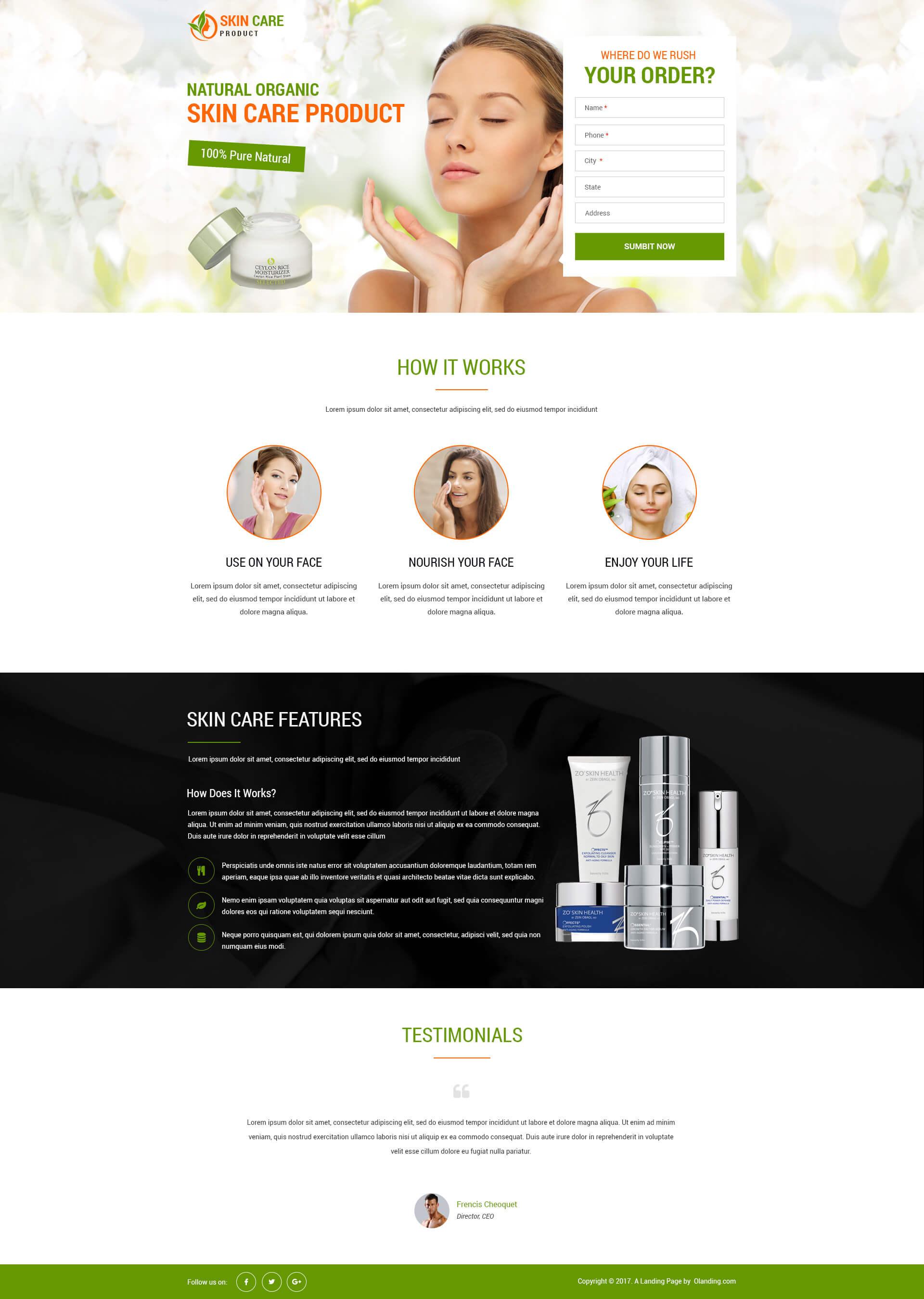 skin care landing page