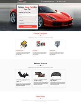 Affordable Car Spare Parts Landing Page Design Template