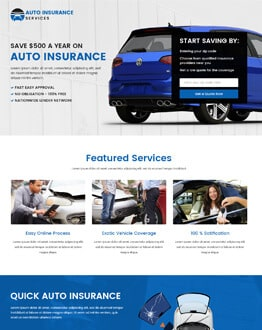Auto Insurance Responsive Landing Page Design Template