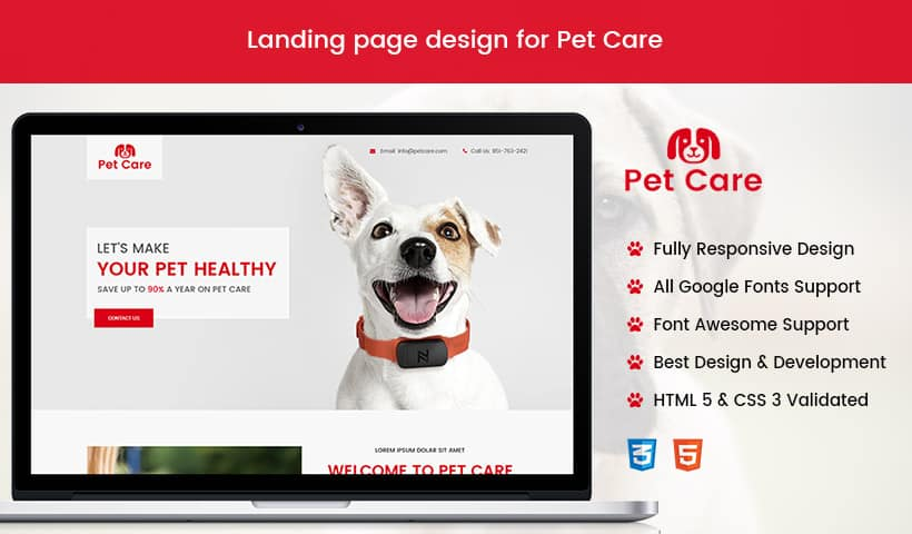 Best Animals and Pets landing page design template