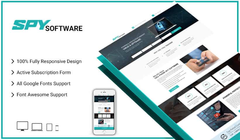 Best Cell Phone Spy Software Selling Landing Page Design Template