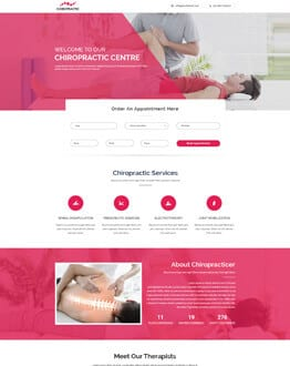 Chiropractic Treatment Services Landing Page Design Template
