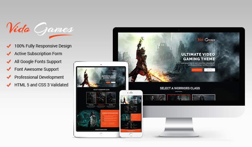 Online Video Games Landing Page Design Template