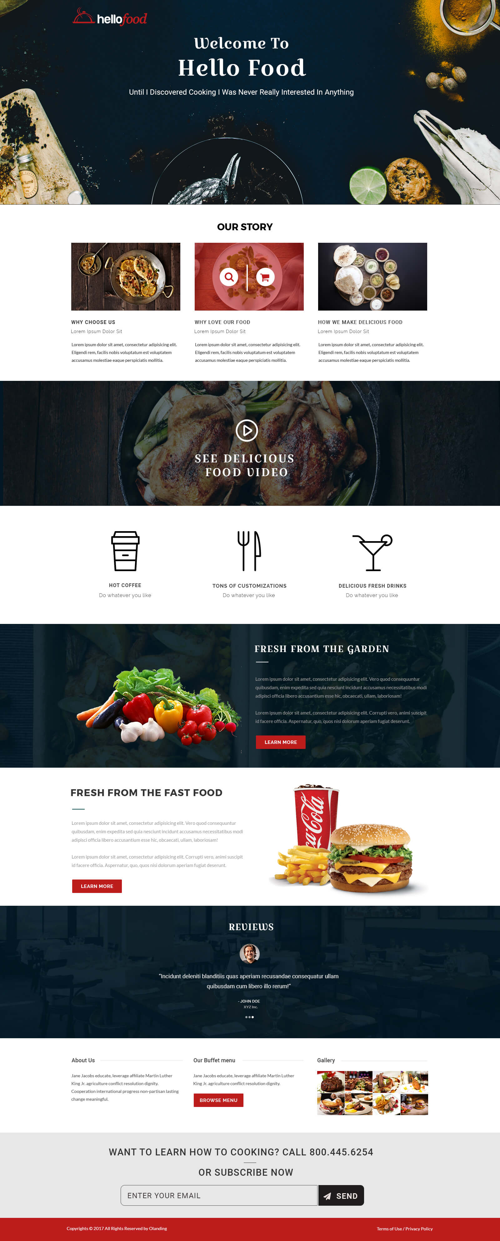 Responsive restaurant and cafe landing page design