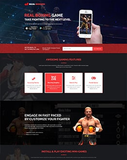 Online Boxing Games Landing Page Design Template