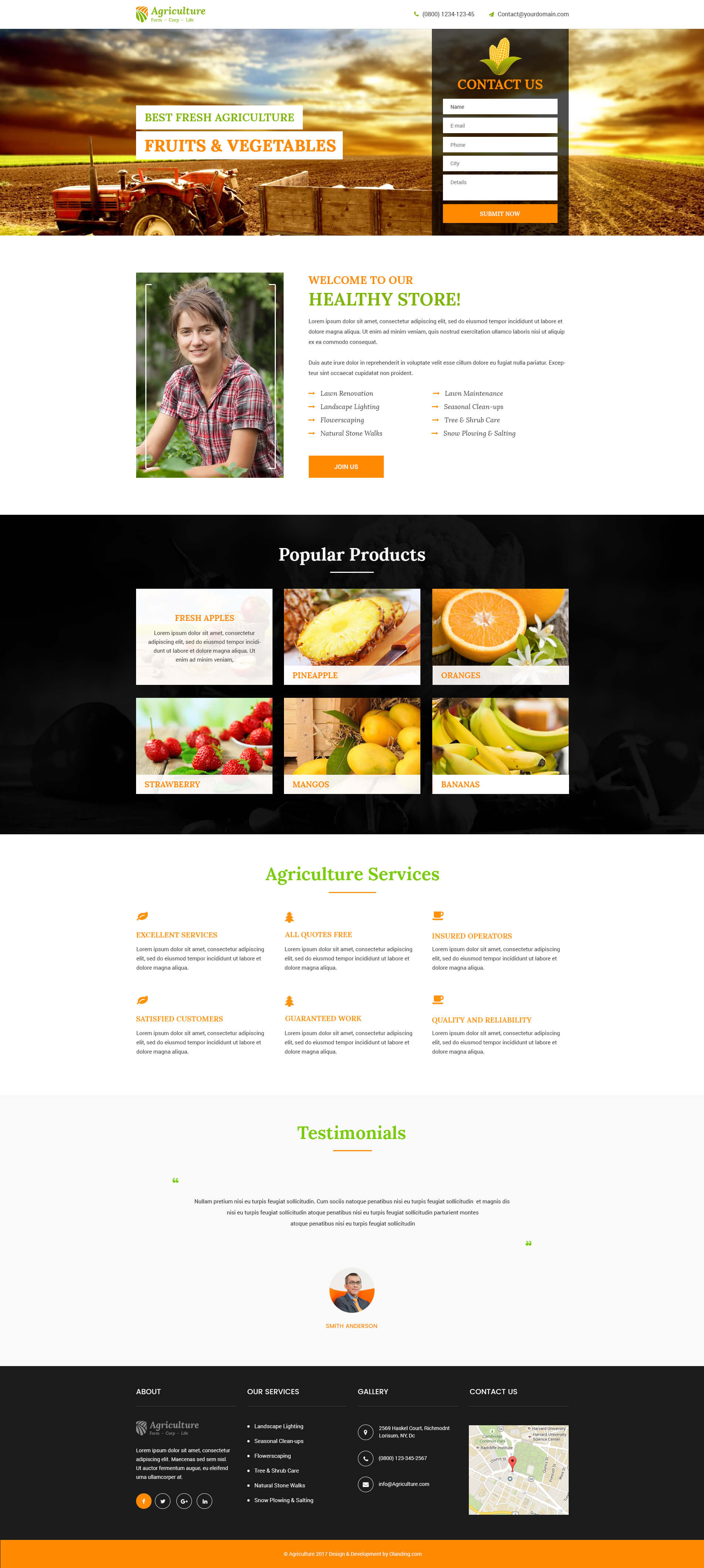 Agriculture landing page design template to promote your for Html product page template free