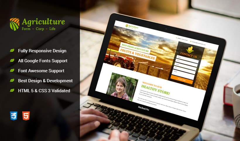 Agriculture Services and Products Landing Page Design Template