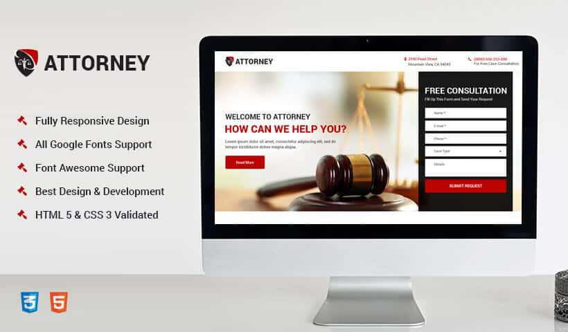 Responsive Attorney and Law Landing Page design Template