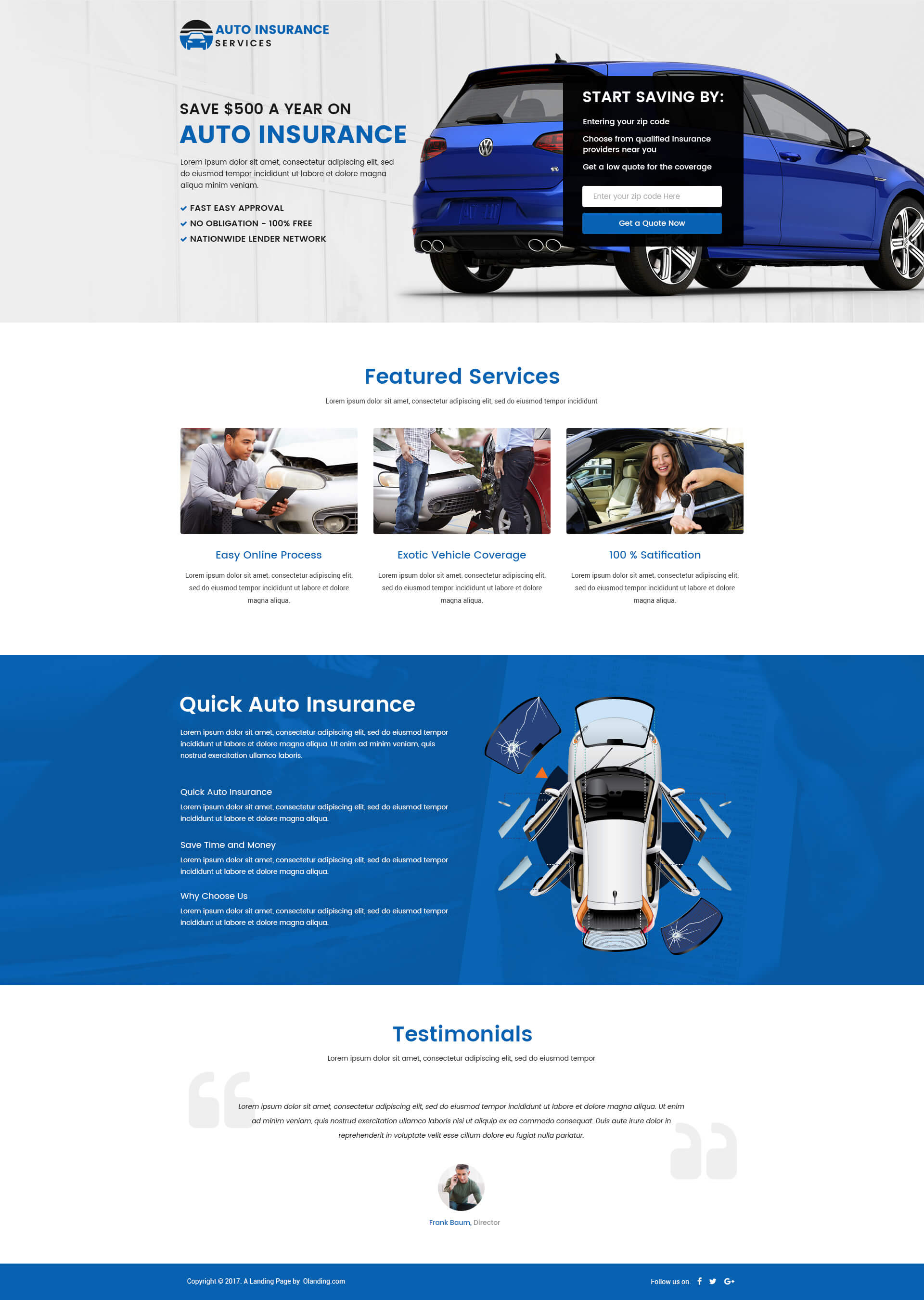 responsive auto insurance landing page design template for your