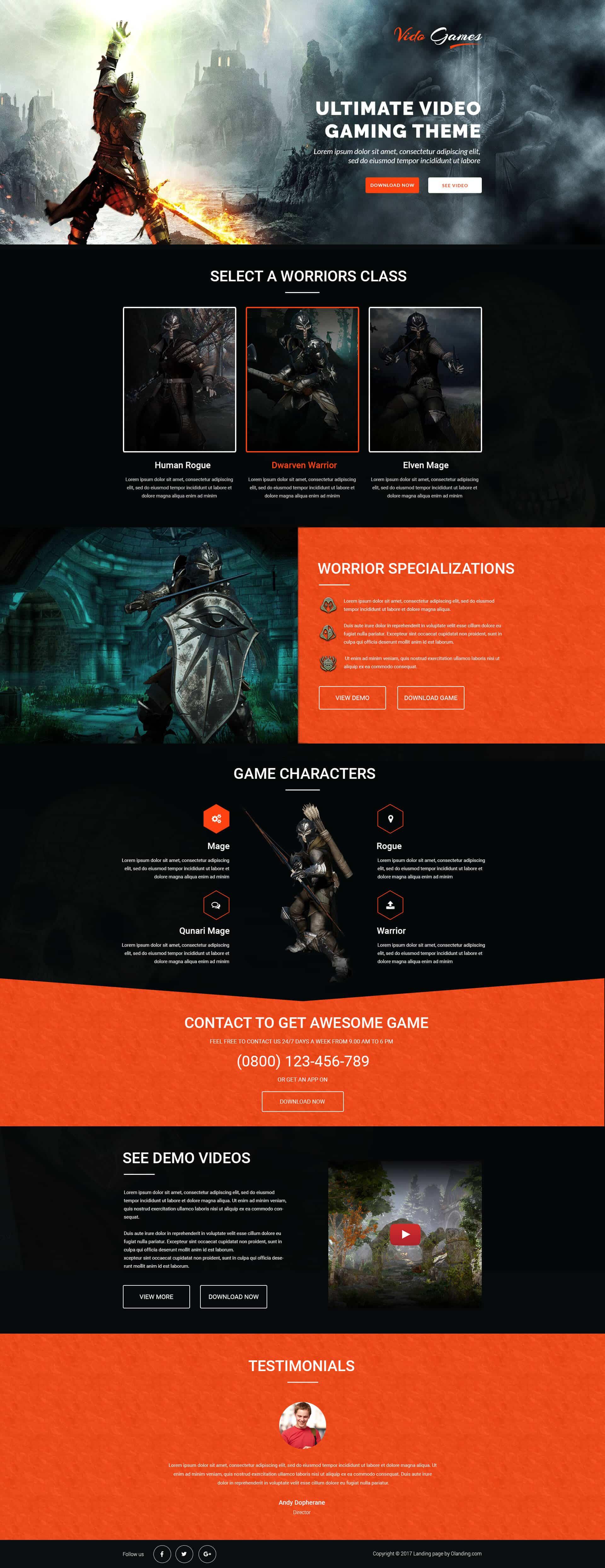games landing page