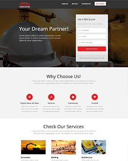 Construction Company Landing Page Design Template