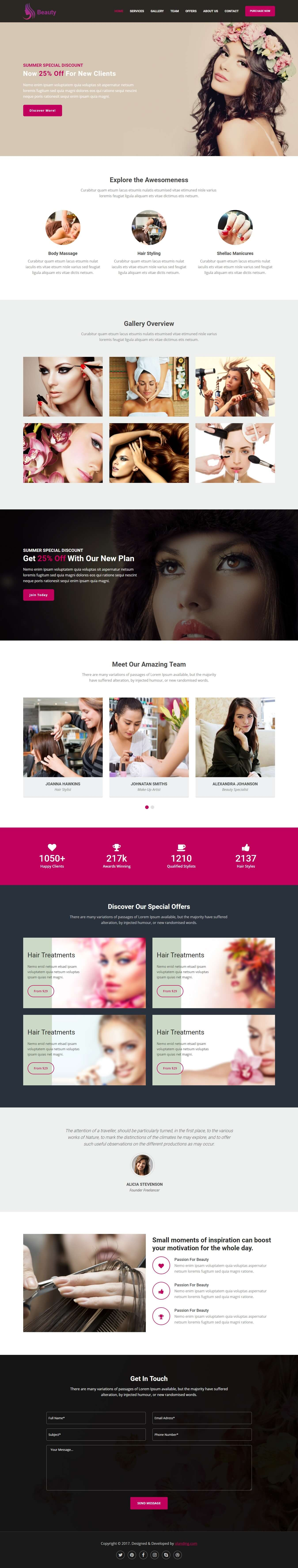 beauty products landing page