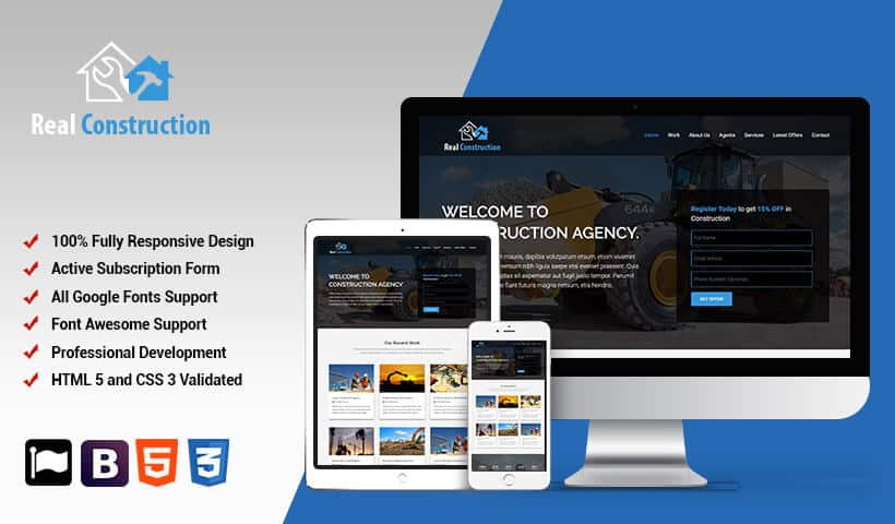Professional Construction Landing Page HTML Template For Use - Landing page html template