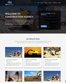 Professional Construction Landing Page HTML Template