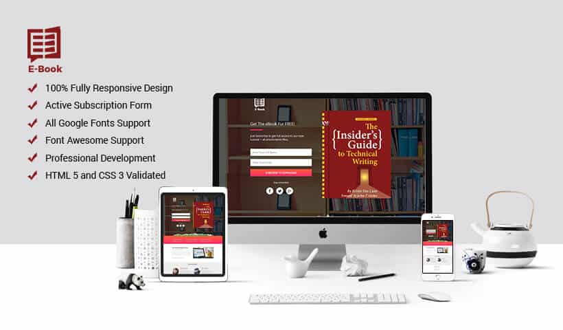 Responsive eBook Landing Page Design Template