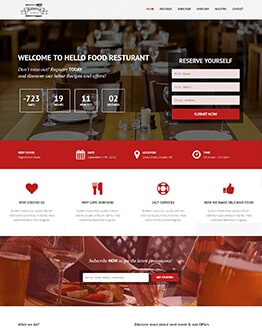 Responsive Restaurant Hotel or Motel html website template