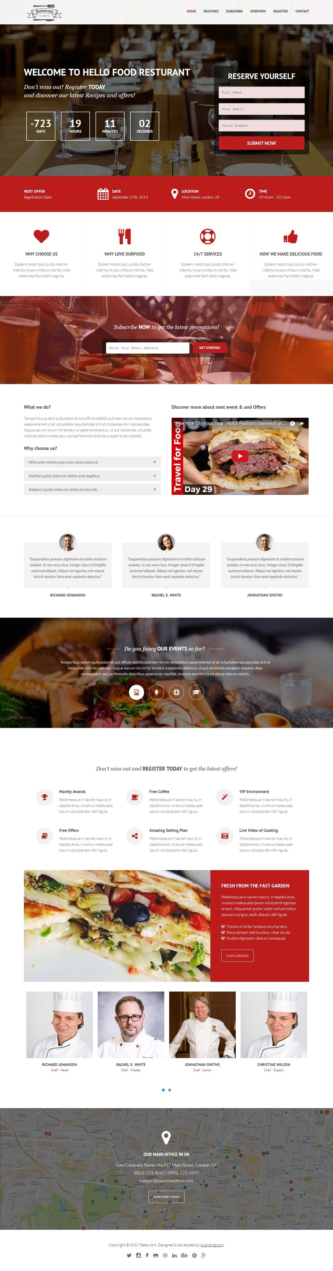 Responsive Restaurant And Cafe Landing