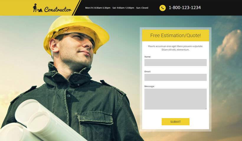 Lead Generating Construction Landing Page HTML Template For Contractors