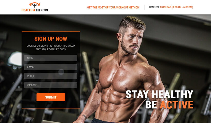 Capture High Lead With Best Landing Page Template for Gym, Sports, Health & Fitness
