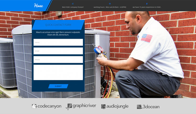Lead Generating Landing Page Template For Heating & Cooling Companies