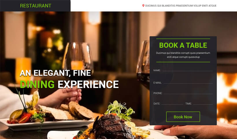High Lead Generating Landing page template for restaurants and cafe shops
