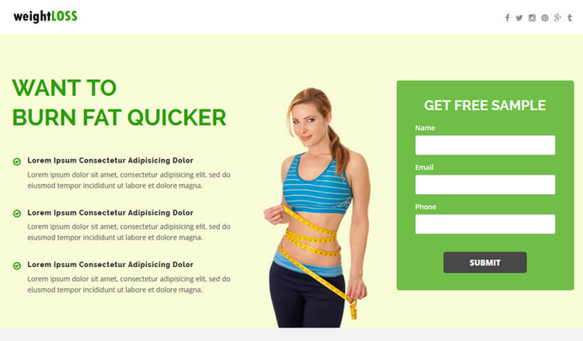 WeightLoss Fitness Health And Beauty Landing Page Template OLanding - Sample landing page template