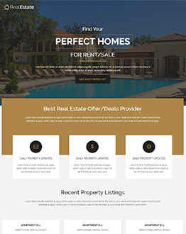 Best Highly Responsive property industry landing page template