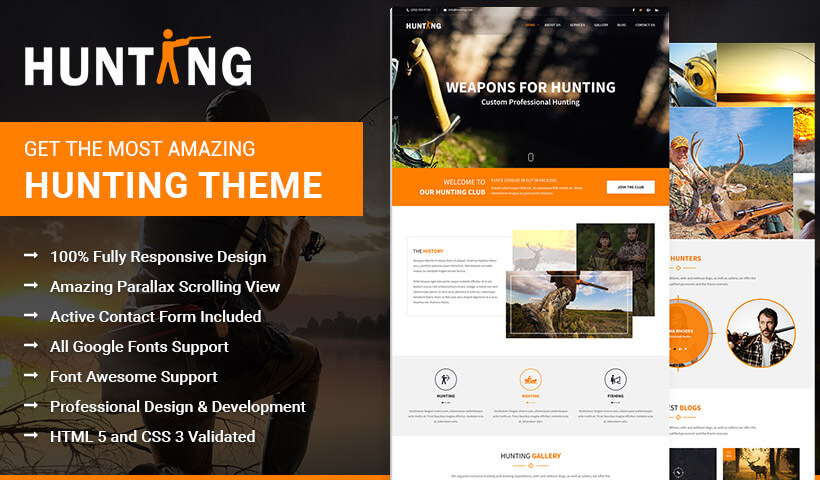 Hunting, Best Responsive Theme for Hunters and Arms Dealers To Capture High Traffic And Leads