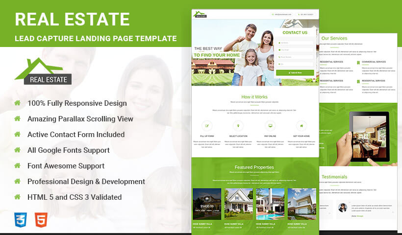 Best Real Estate HTML5 Responsive Landing Page Template To Capture High Traffic And Leads