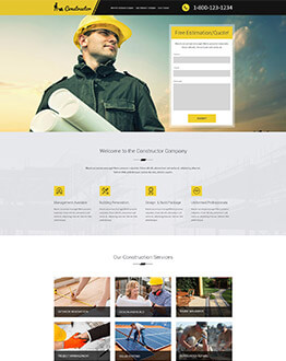 Contractors Construction Landing Page HTML Template