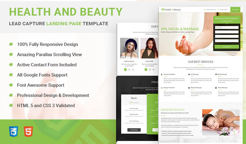 Capture High Traffic And Leads With Best Health and Beauty Lead Gen HTML5 Responsive Landing Page Template