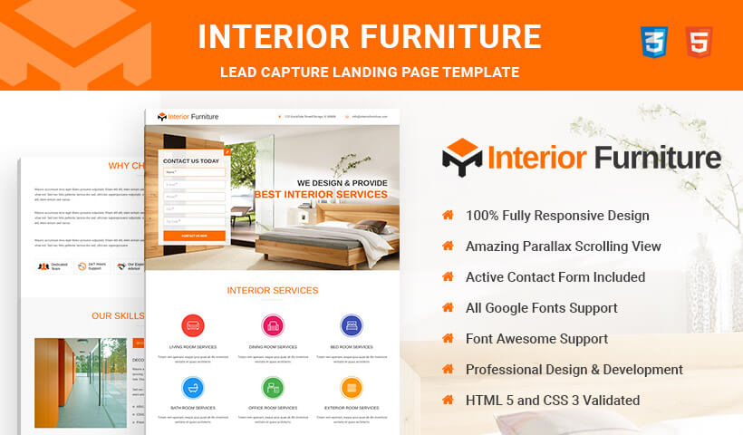 Interior and Furniture HTML5 Responsive Landing Page Template To Capture High Traffic And Leads