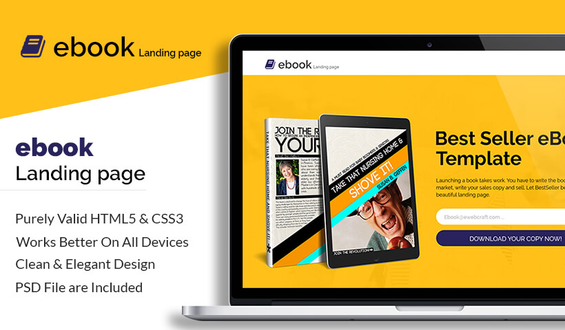 Best Lead Generating Ebook Selling HTML5 Landing Page Template To Capture High Traffic