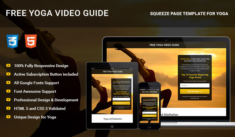 HTML5 Responsive Yoga Squeeze Page Template To Capture High Leads And Traffic