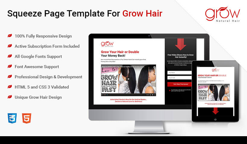 Increase Sale Of Your Product And Get High Leads HTML5 Responsive Hair Loss Product Squeeze Page Design Template