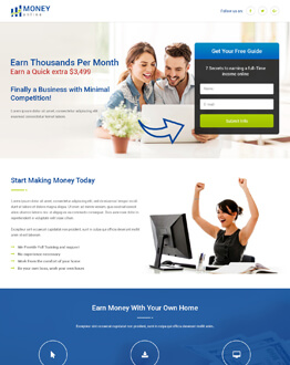 HTML5 Responsive Money Online Squeeze Page Design Templates To Earn Money Online By Capturing High Leads And potential