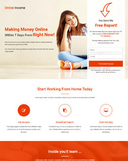 High Lead Generating HTML5 Responsive Online Income Squeeze Page Design Templates To Earn Online Income