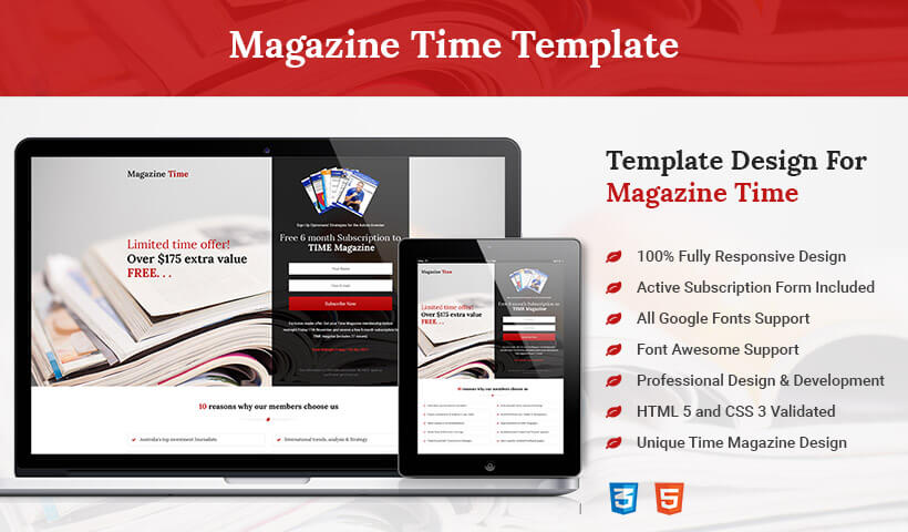 Best Business Conversion HTML5 Responsive Time Magazine Style Squeeze Page Design Template