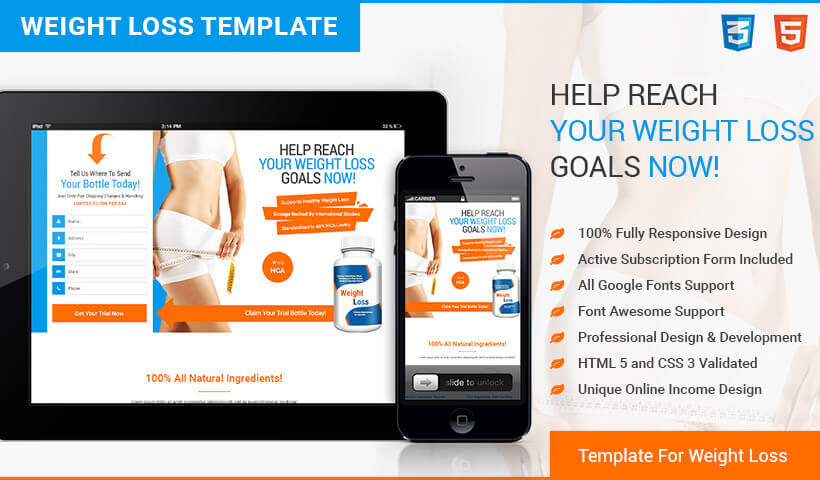 Boost Your Sales And Conversions With HTML5 Responsive Weight Loss Squeeze Page Design Templates And Capture High Leads