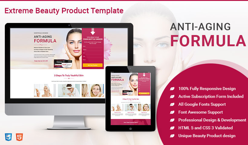 Lead Generating HTML5 Beauty Product Landing Page Design To Promote Sale Of Your Beauty Product