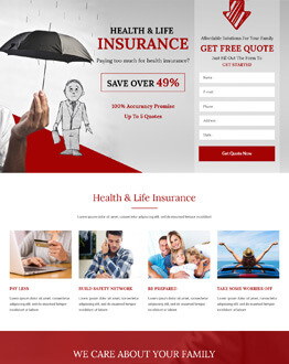 Lead Generating HTML5 Health&Life Insurance Landing Page Design Templates For Converting Visitors Into Quality Leads