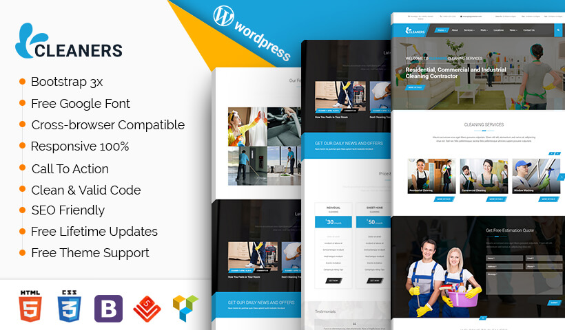Best Cleaning WordPress Theme For Residential, Commercial and Industrial cleaning Companies