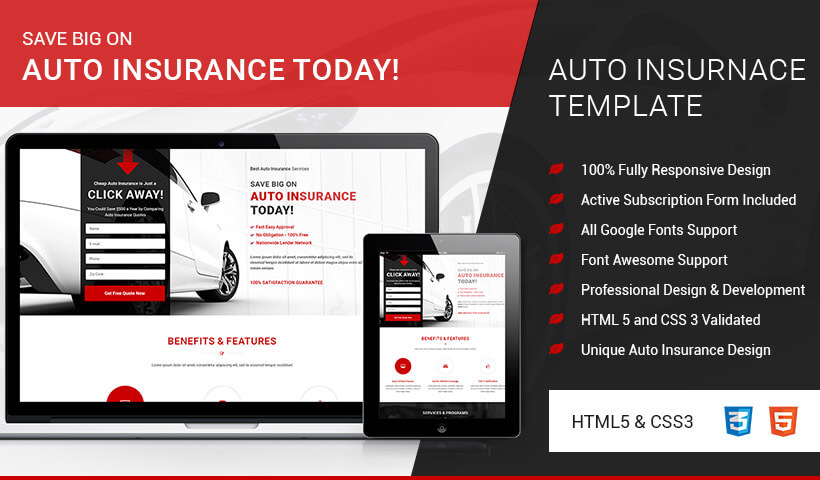insurance html5 templates  HTML5 Responsive Auto Insurance Landing Page Design Template To ...