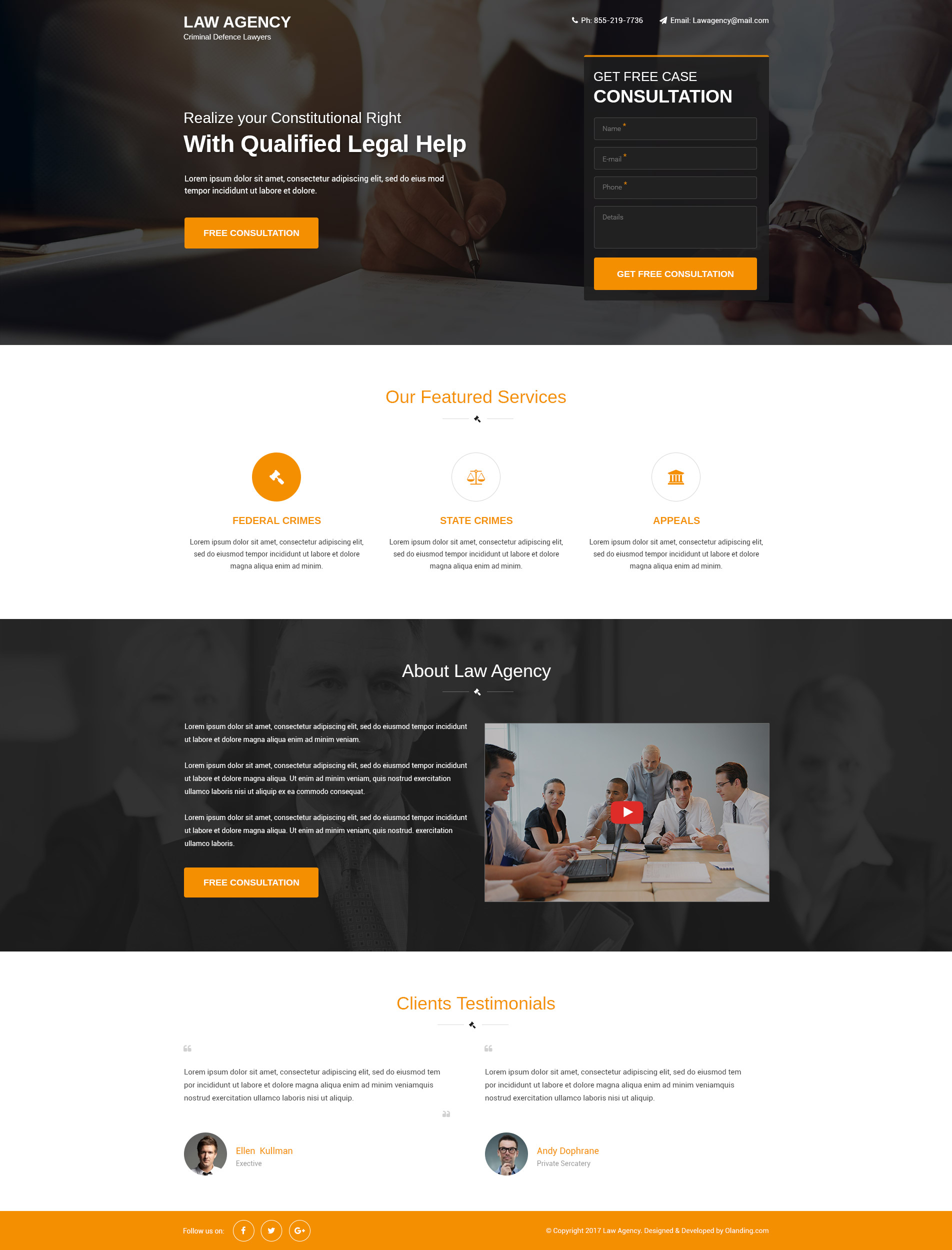 responsive Lead Gen HTML5 law agency landing page design Template ...