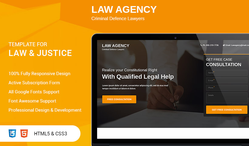 Best High Lead Genarating HTML5 Responsive Law Agency Landing Page Design Template