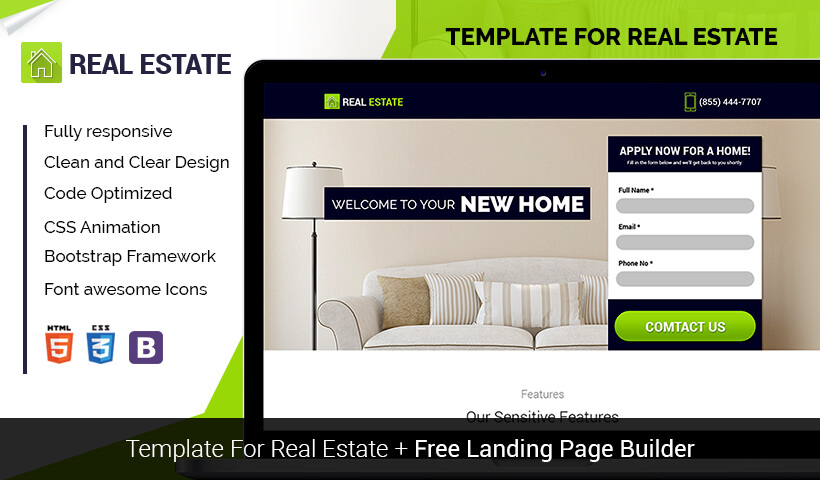 High Lead Generating Real Estate Landing Page Template With Free Builder