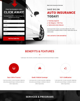Best HTML5 Responsive Auto Insurance Landing Page Design Template To Capture Leads And Traffic